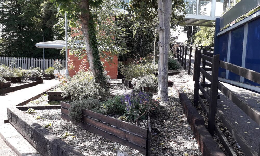 Long Eaton raised planters