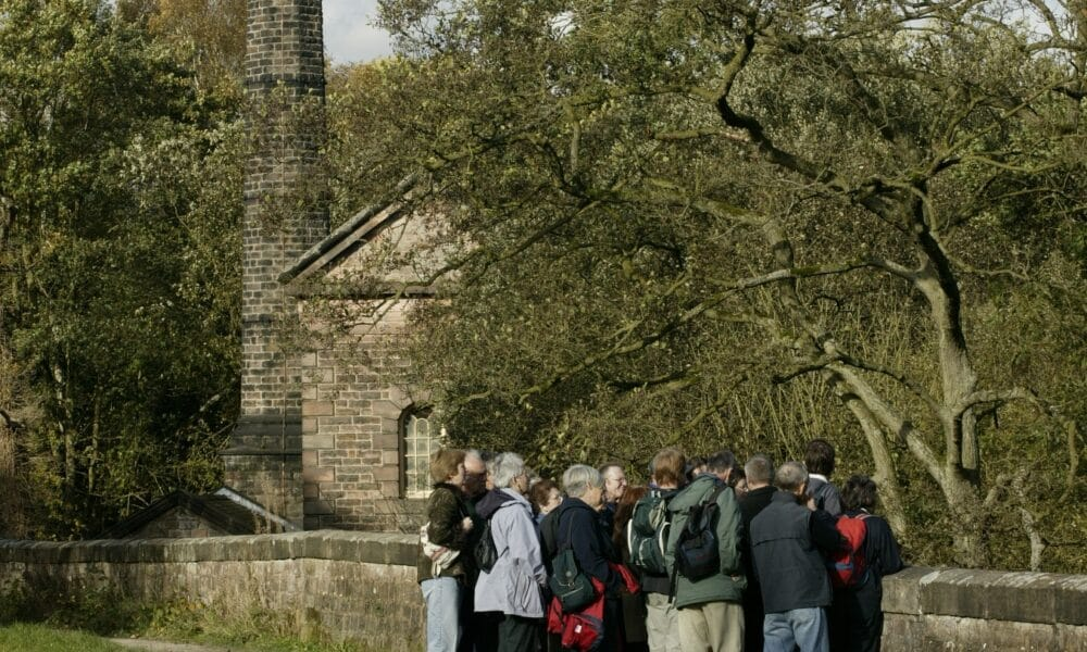 Leawood Pumphouse and walkers