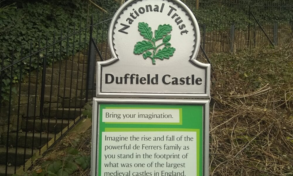 Duffield Castle National Trust sign