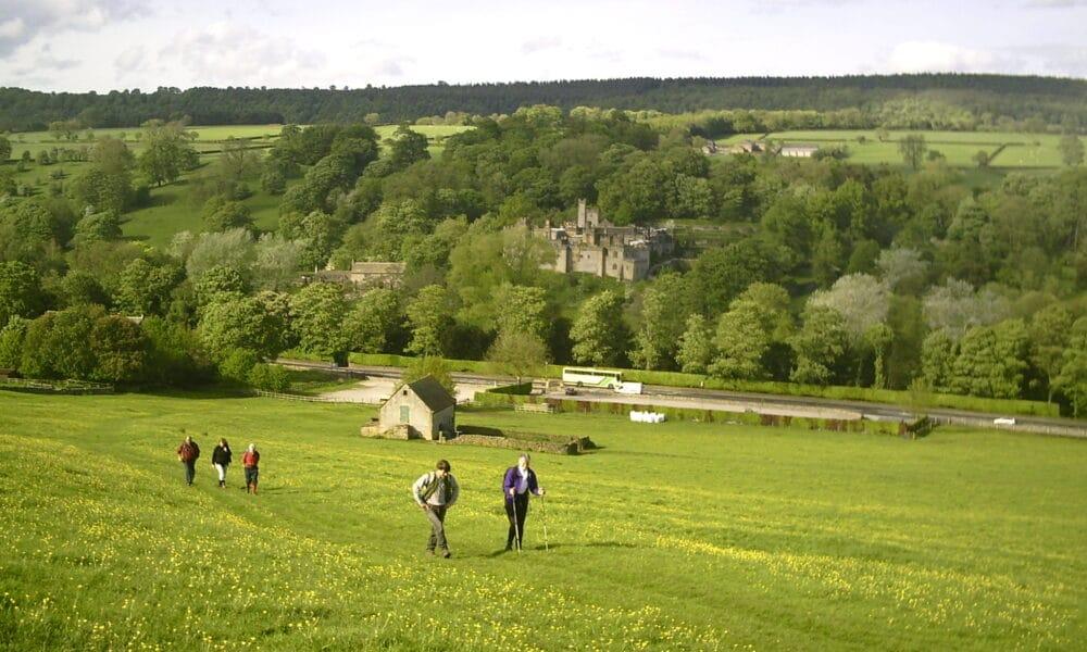 Haddon Hall across fields