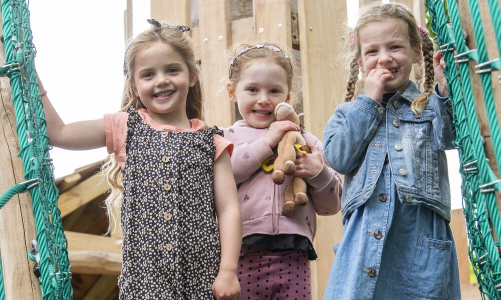 Girls on castle play equipment